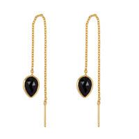 Gouden oorbel met Zwarte Onyx
