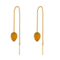 Gold earring with Yellow chalcedony