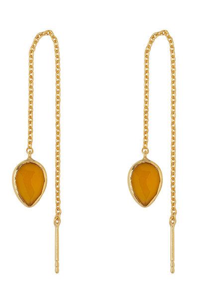 Marissa Eykenloof Gouden oorbel met Gele chalcedony