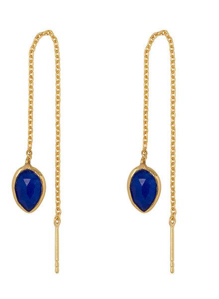 Marissa Eykenloof Yael Gouden oorbel met Blauwe Aventurijn blauwe quartz