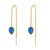 Gold earring with Blue chalcedony