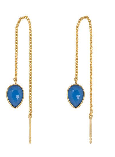 Marissa Eykenloof Yael Gouden oorbel met blauwe chalcedony