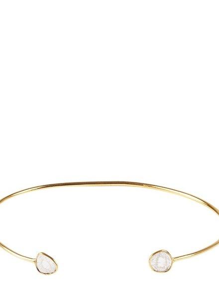 Marissa Eykenloof 14K Gold bangle with sliced diamond