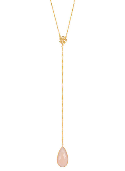 Marissa Eykenloof Gold necklace with Rose Quartz