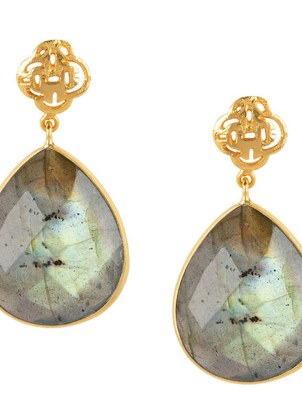 Marissa Eykenloof Logo stud earring gold with Labradorite