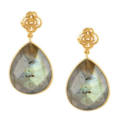 Marissa Eykenloof Logo stud earring gold with Labradorite