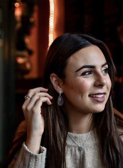 Marissa Eykenloof Silver Logo stud earring with Rose Quartz