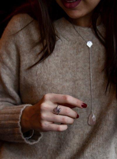 Marissa Eykenloof Silver necklace with Rose Quartz