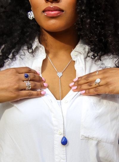 Marissa Eykenloof Silver necklace with Lapis Lazuli