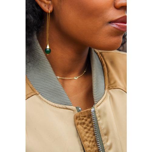 Marissa Eykenloof Georgette Silver earring with Green Aventurine