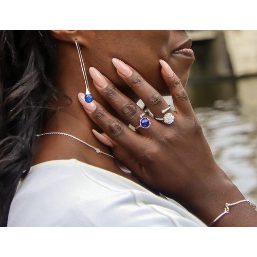 Marissa Eykenloof Georgette Silver earring with Blue Aventurine