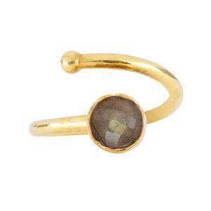 Marissa Eykenloof Gouden  ring met Labradoriet voor kinderen