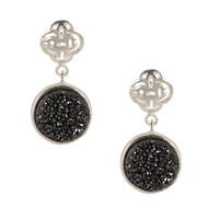 Silver Logo stud earring with black druzy
