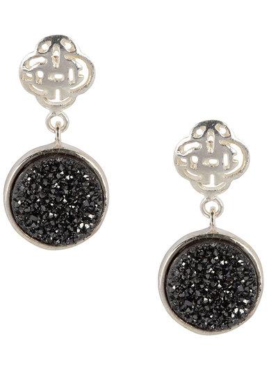 Marissa Eykenloof Silver Logo stud earring with black druzy