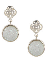 Marissa Eykenloof Silver Logo stud earring with white druzy