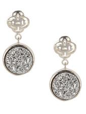 Marissa Eykenloof Silver Logo stud earring with silver druzy