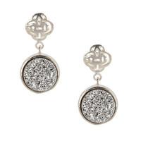 Silver Logo stud earring with silver druzy