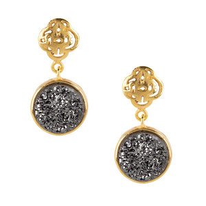 Marissa Eykenloof Gold Logo stud earring with black druzy