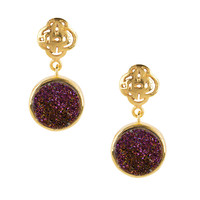 Gold Logo stud earring with purple druzy