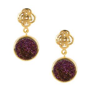 Marissa Eykenloof Gouden logo oorbel met paarse druzy