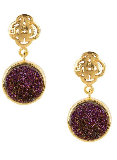 Marissa Eykenloof Gold Logo stud earring with purple druzy