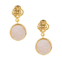Gold Logo stud earring with white druzy