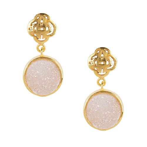 Marissa Eykenloof Gold Logo stud earring with white druzy