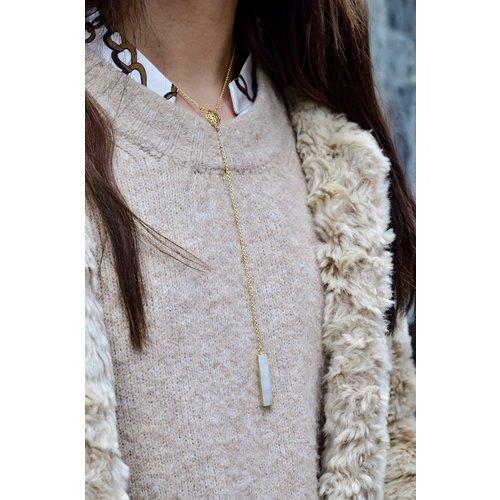 Marissa Eykenloof Necklace gold with Rainbow Moonstone