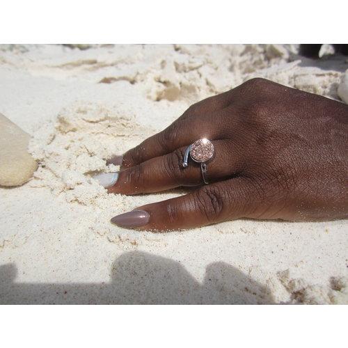 Marissa Eykenloof Silver druzy ring rose agate