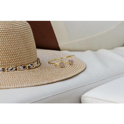 Marissa Eykenloof Gold druzy bracelet white agate