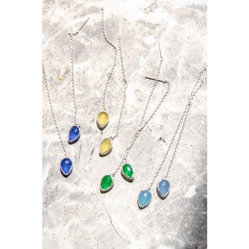 Marissa Eykenloof Yael Silver earring with Blue chalcedony