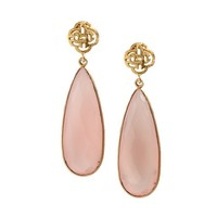 Logo stud earring gold with Rose Quartz