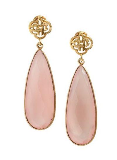 Marissa Eykenloof Logo stud earring gold with Rose Quartz