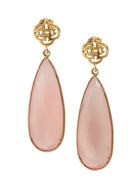 Marissa Eykenloof Logo stud earring gold with Rose Quartz