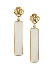Marissa Eykenloof Logo stud earring gold with Moonstone
