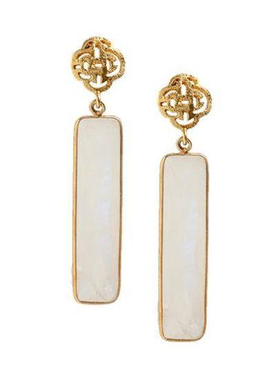 Marissa Eykenloof Logo stud earring gold with Moonstone