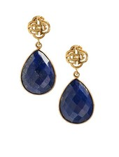 Marissa Eykenloof Logo stud earring gold with Lapis Lazuli