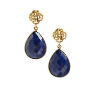 Logo stud earring gold with Lapis Lazuli