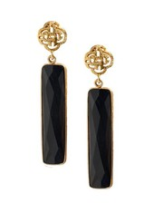 Marissa Eykenloof Logo stud earring gold with black Onyx