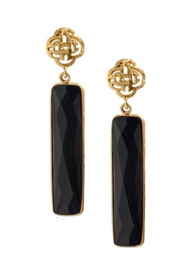Marissa Eykenloof Logo stud earring gold with black Onyx