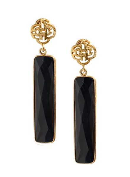 Marissa Eykenloof Logo oorbel goud met zwarte Onyx