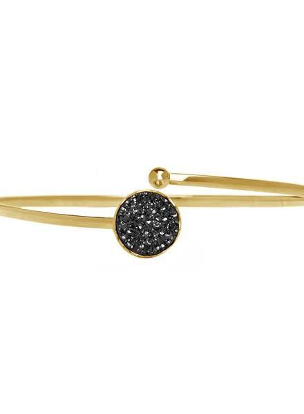 Marissa Eykenloof Gouden armband met zwarte druzy agaat