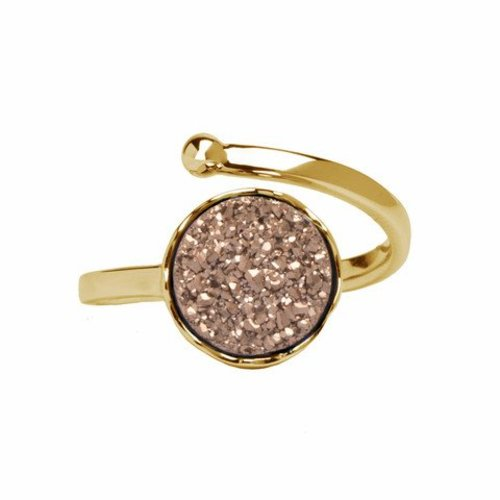 Marissa Eykenloof Gold druzy ring rose agate