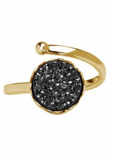 Marissa Eykenloof Gold druzy ring black agate