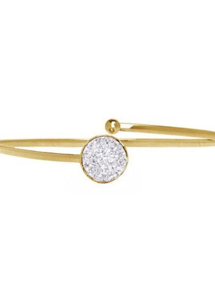 Marissa Eykenloof Gouden armband met witte druzy agaat
