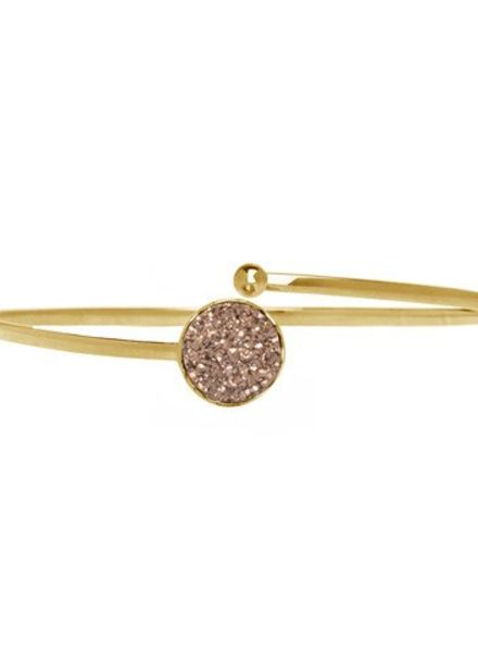 Marissa Eykenloof Gouden armband met rose druzy agaat