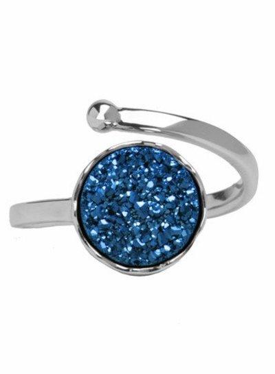 Marissa Eykenloof Silver druzy ring blue agate