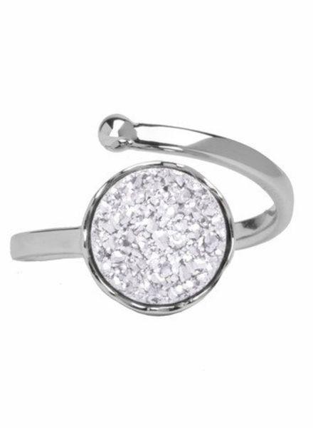 Marissa Eykenloof Silver druzy ring white agate