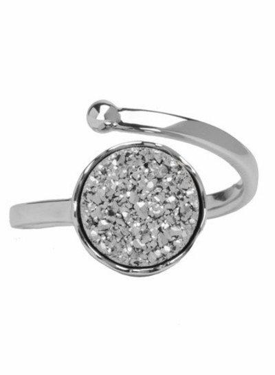 Marissa Eykenloof Zilveren ring met zilveren druzy agaat