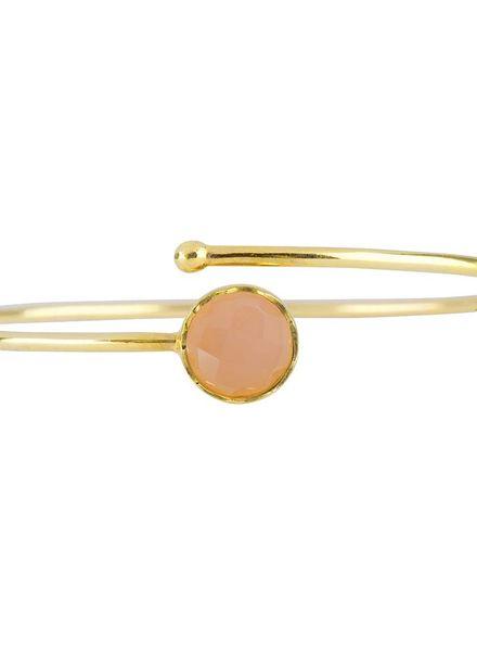 Marissa Eykenloof Gouden armband met rozenkwarts